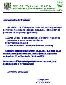 OGŁOSZENIE - SPOTKANIE DYSKUSYJNE 28.11.2017 r.  - SALA TRATWA
